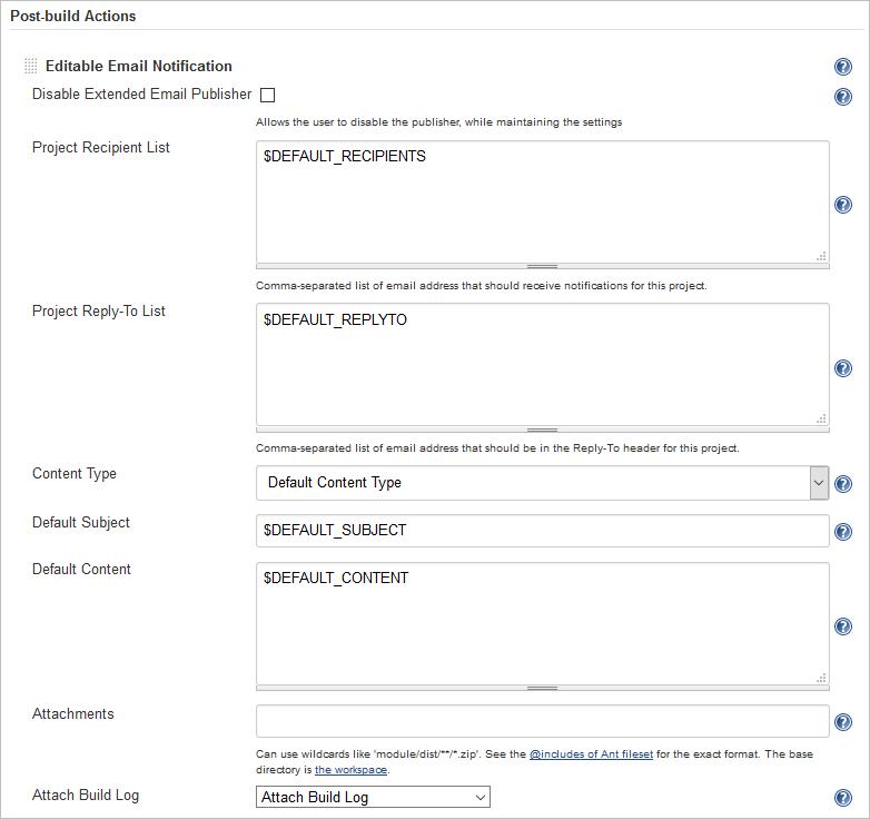Editable email notification settings in Jenkins job