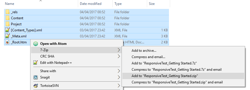 Compressing review package files to a ZIP archive