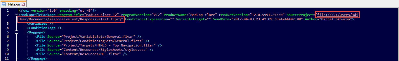 Flare project path in _Meta XML file