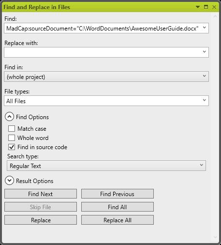 Find source file links - madcap flare