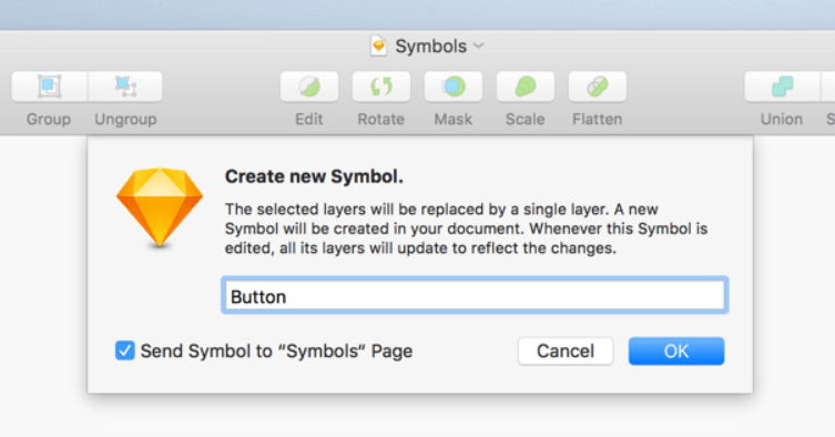 Creating symbols in Sketch